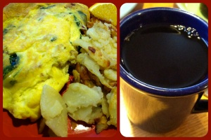 Spinach-bacon omelette and coffee!