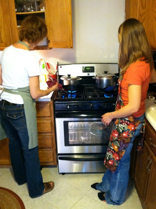 Mom and I preparing Thanksgiving dinner