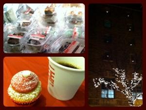 1. Fudge, 2. Mini Cupcake and Coffee, 3. Christmas Twinkles