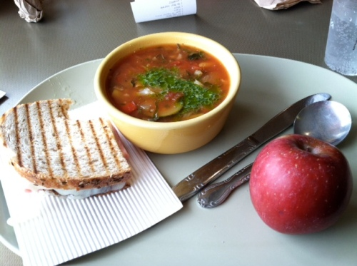 Perfect for a Gloomy Day: Vegetable Soup plus a Grilled Ham and Cheese!